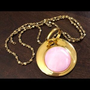 JOAN RIVERS Gold Tone and Pink Pendant Necklace
